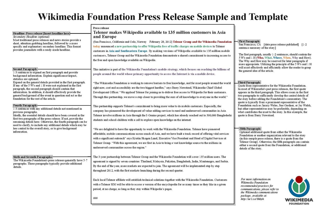 FileWMF Press Release Template Samplepdf Wikimedia Foundation – Press Release Template Sample