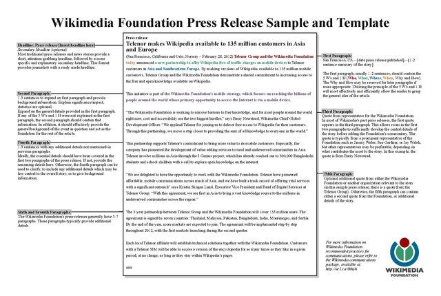 FileWMF Press Release Template Samplepdf Wikimedia Foundation - Foundation bylaws template