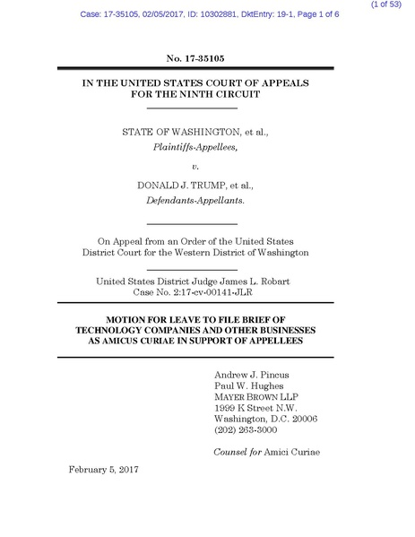 Fileamicus Curiae Brief Of Tech Companies Orgs Washington V