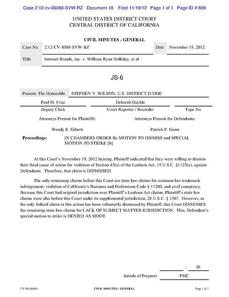 File:2012-11-19 D18 Order re Special Mtn to Strike and Mtn to Dismiss.pdf