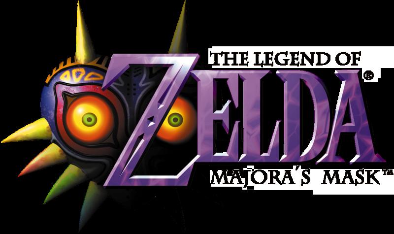 Zelda est inscrit en lettres violettes. Les mentions The Legend of Zelda et Majora's Mask figurent en tout petit en dessus et en dessous. Sur la gauche en arrière-plan, figure une sorte de masque violet en forme de cœur, équipé de pointes, avec des yeux rouges et jaunes.