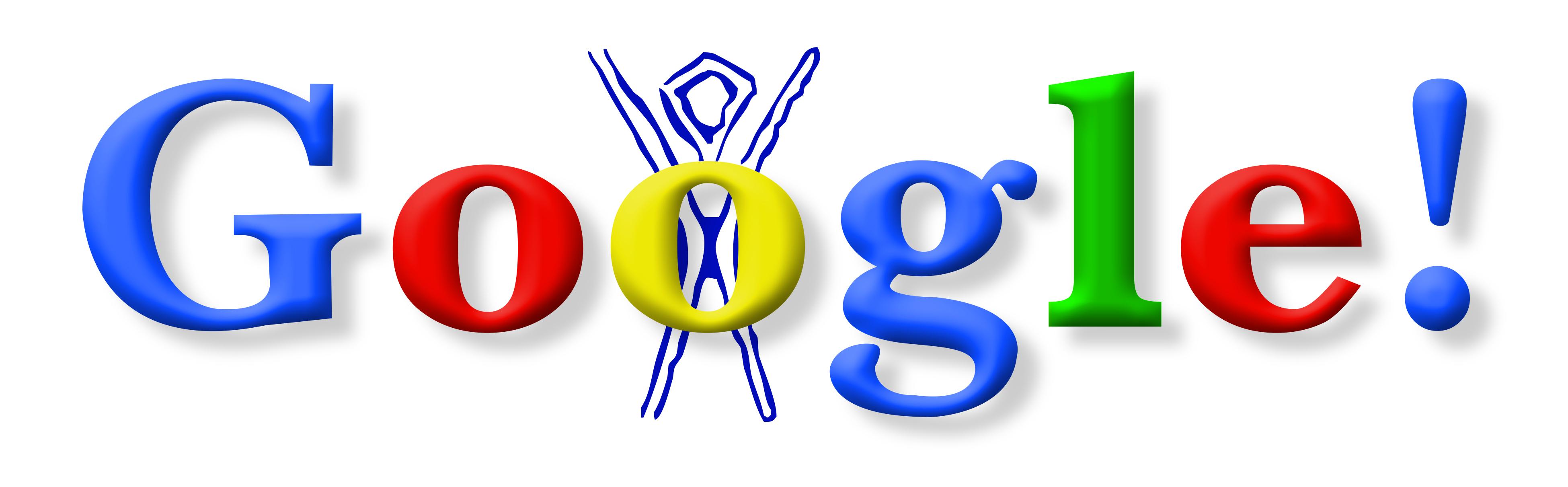 1er Google Doodle datant de 1998 à l'occasion du festival Burning Man
