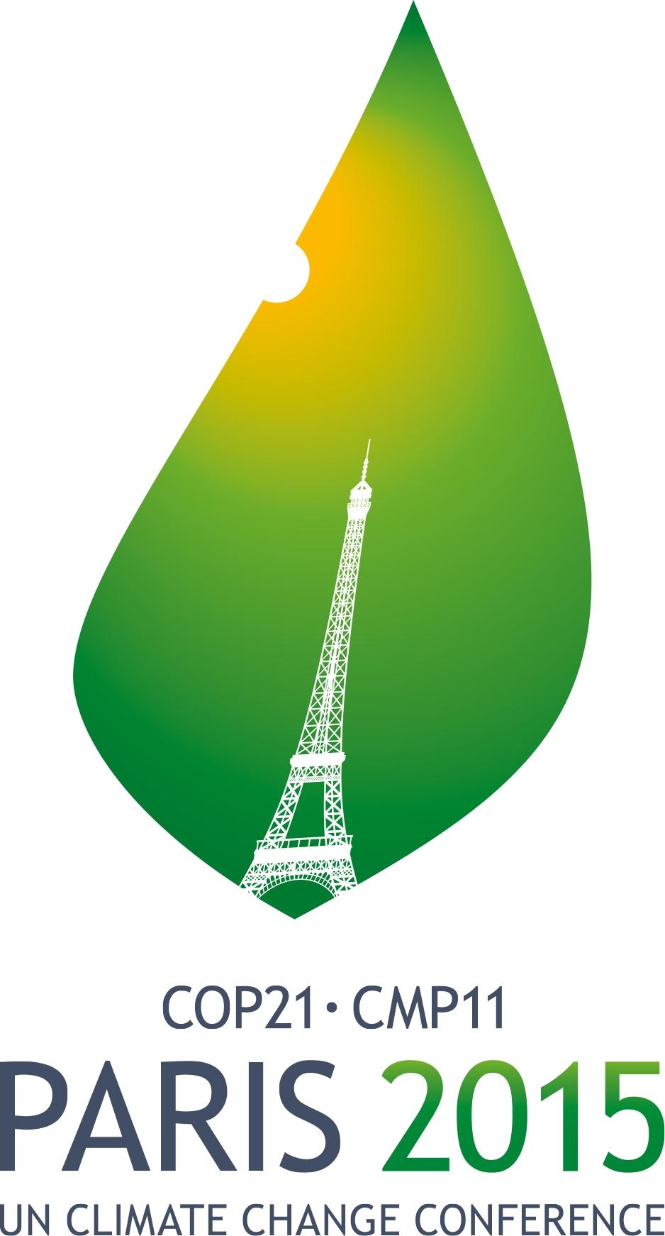 Logotype officiel représentant la tour Eiffel ciselée sur une feuille d'arbre que la chaleur du soleil commence à brûler.