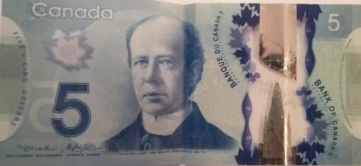 billet 5 dollars canadien