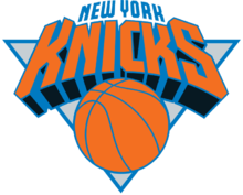 Logotype des Knicks : ballon de basket et nom de la franchise, en orange et en bleu.