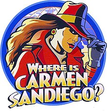 Logo de la franchise lors de la réédition de Where in the World Is Carmen Sandiego? en 1992.
