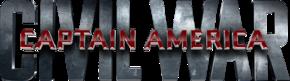 Les mots « CIVIL WAR » en capitales grises métallisées et, par-dessus, les mots « CAPTAIN AMERICA » en capitales rouges cinq fois plus petites.