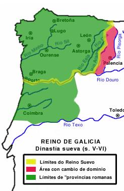 Mapa Reino de Galicia suevos