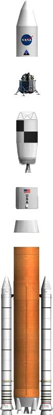בתמונה ניתן לראות את חלקיו של הטיל: השלב הראשון – מאיצי ה־SRB (שני הטילים הלבנים הקטנים), השלב השני – מנועי ה־RS-68 (החלק התחתון הכתום) ואת מרכיבי השלב השלישי והעליון של הטיל, הכולל את שלב העזיבה של כדור הארץ ואת החללית אלטאיר