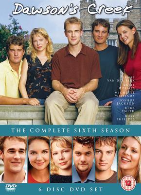 עטיפת ה-DVD של העונה השישית. למטה משמאל לימין: דוסון לירי, ג'ואי פוטר, ג'ן לינדלי, פייסי וויטר, ג'ק מקפי ואודרי לידל