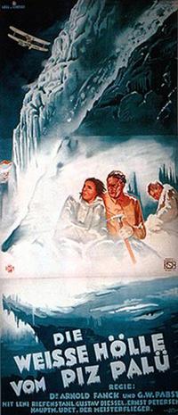 """כרזת הסרט """"הגיהנום הלבן בפיץ פאלו"""" משנת 1929 בבימויו של ארנולד פאנק"""