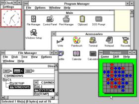 תמונת מסך מהממשק הגרפי Windows 3.0