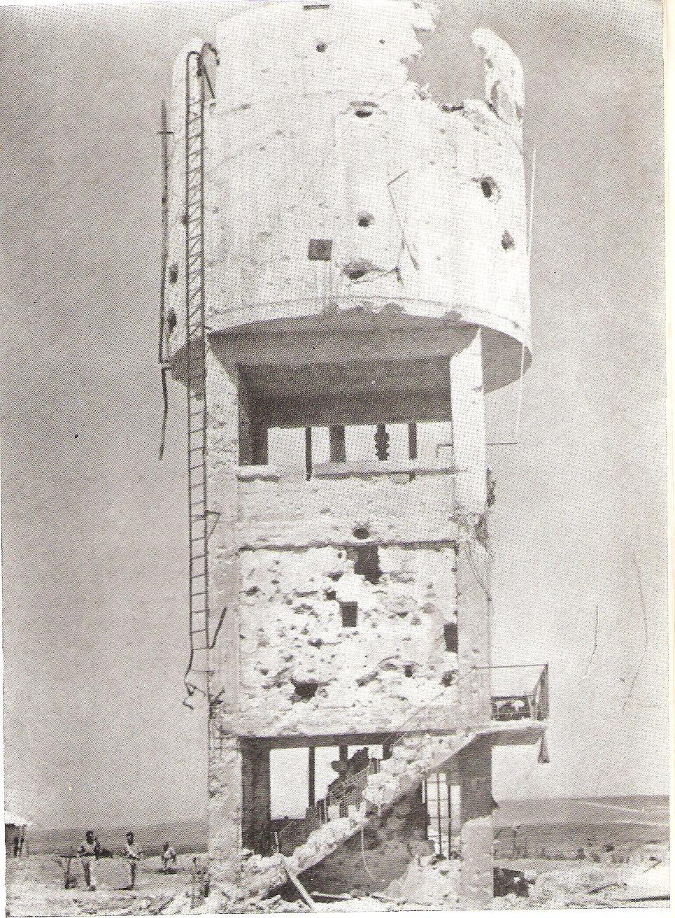 מגדל המים בבארות יצחק לאחר ההתקפה