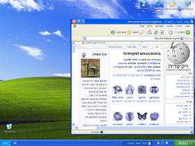 תמונת מסך של מערכת ההפעלה Windows XP בעברית