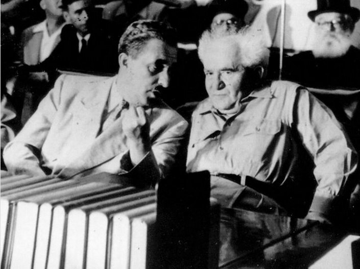 Prime Minister Moshe Sharett with Defense Minister David Ben-Gurion at a meeting of the Third Knesset, 1955