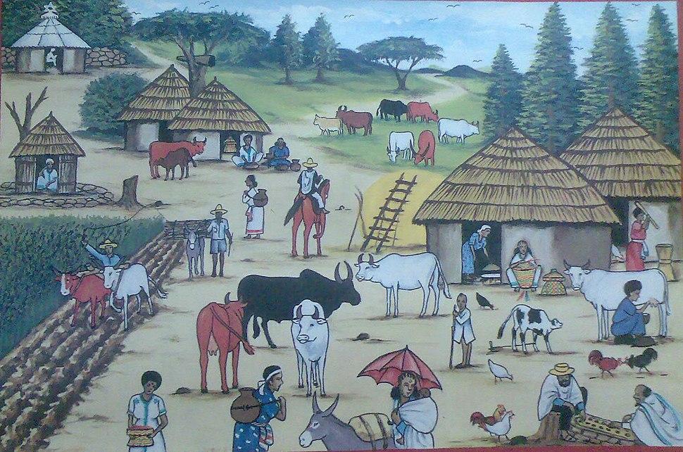 ציור של כפר יהודי-אתיופי