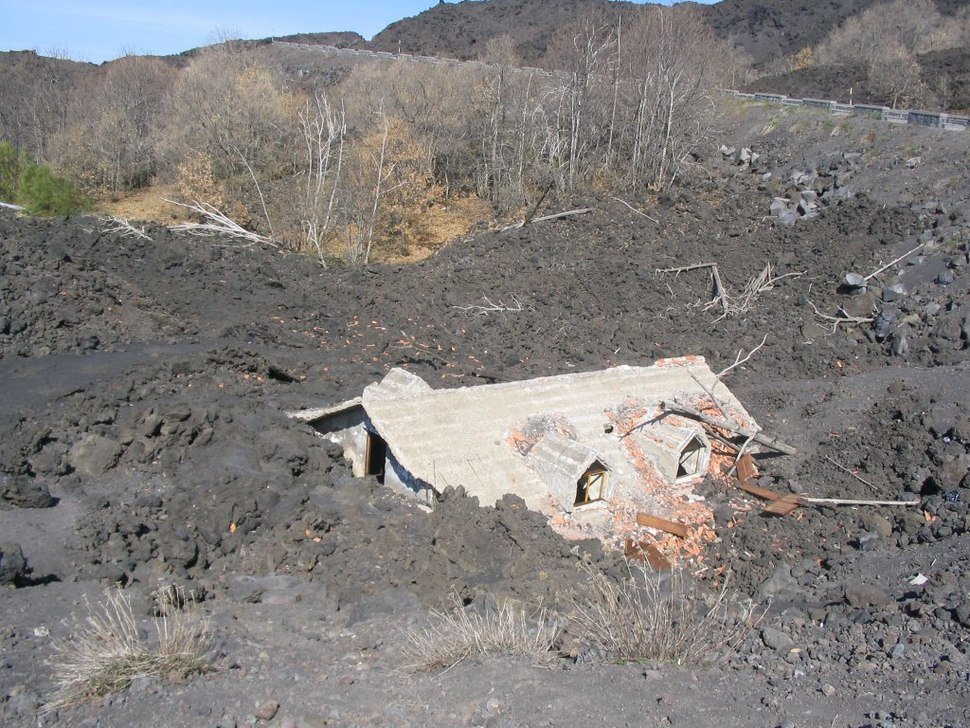 House buried under vulcanic ash, in Sicily