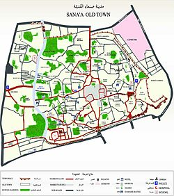מפת העיר העתיקה בצנעא