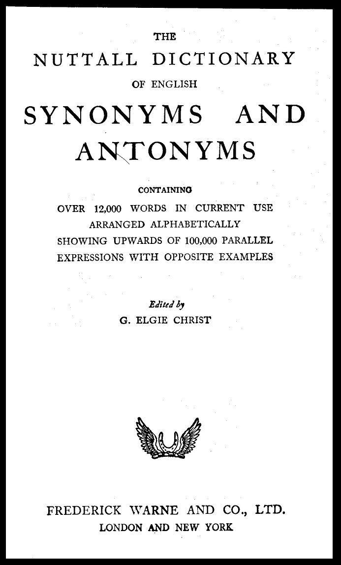 The Nuttal Dictionary cover page
