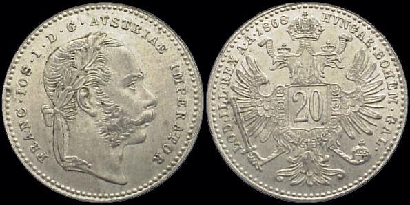 Coin of Franz Joseph I 20 Kreuzer 1868