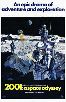 "A painted image of four space-suited astronauts standing next to a piece of equipment atop a lunar hill, in the distance is a Moon base and a ball-shaped spacecraft descending toward it – with the earth hanging in a black sky in the background. Above the image appears ""An epic drama of adventure and exploration"" in blue block letters against a white background. Below the image in a black band, the title ""2001: a space odyssey"" appears in yellow block letters."