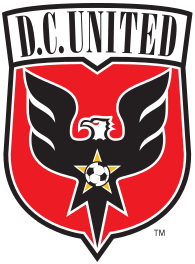 "A shield with stylized black eagle facing left on a red field under the words ""D.C. United"". On the eagles chest is a red star with a soccer ball."