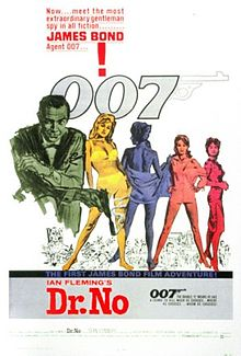 "In the foreground, a green-tinted man in a suit holding a gun, a yellow-tinted woman in a bikini, a blue-tinted woman wrapped in a towel, an orange-tinted woman in a man's shirt, and a red-tinted woman in a dress. Below them are drawn figures of scenes of the movie. Above them, the slogan ""NOW meet the most extraordinary gentleman spy in all fiction!...JAMES BOND, Agent 007!"" and the 007 logo, where the 7 has a trigger and gun barrel. In the bottom of the poster, the title ""Ian Fleming's Dr. No"", film credits and other slogans."