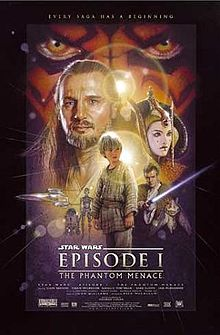 "Illustration depicting various characters of the film, surrounded by a frame which reads at the top ""Every saga has a beginning"". In the background there is a close-up of a face with yellow eyes and red and black tattoos. Below the eyes are a bearded man with long hair, a young woman with facepaint and an intricate hat, three spaceships, a short and cillindric robot besides a humanoid one, a boy wearing gray clothes, a young man wearing a brown robe holding a laser sword, and an alien creature with long ears. At the bottom of the image is the title ""Star Wars Episode I: The Phantom Menace"" and the credits."