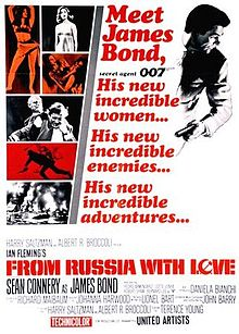 "The upper center of the poster reads ""Meet James Bond, secret agent 007. His new incredible women... His new incredible enemies... His new incredible adventures..."" To the right is Bond holding a gun, to the left a montage of women, fights and an explosion. On the bottom of the poster are the credits."