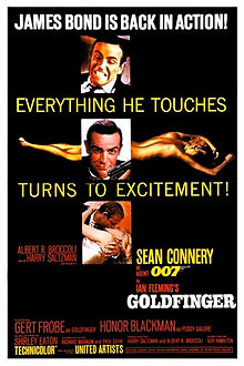"On a black background, three pictures of a man in a suit, holding a gun on the middle one and kissing a woman in the bottom one. Behind the middle picture, a nude woman painted gold lies. Atop each image is a phrase of the tagline: ""James Bond Is Back"", ""Everything He Touches"", ""Turns to Excitement!"". On the bottom of the poster, the title and credits."