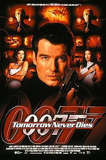 "A man wearing black holds a gun. On his sides are a white woman in a white dress, and an Asian woman in a gray, sparkling dress holding a gun. On the background are monitors with scenes of the film, with two at the top showing a man wearing glasses holding a baton. On the bottom of the screen are two images of the 007 logo under the title ""Tomorrow Never Dies"",m and the film credits."