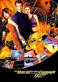 Poster shows a circle with Bond flanked by two women at the center. Globs of fire and action shots from the film are below. The film's name is at the bottom.