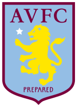 "A badge with a claret border, light blue background and yellow lion rampant facing to the left with a small star slightly above an outstretched leg. AVFC is atop the lion in claret writing with ""Prepared"" written underneath."