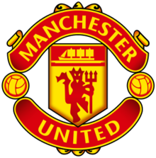 "The words ""Manchester"" and ""United"" surround a pennant featuring a ship in full sail and a devil holding a trident."