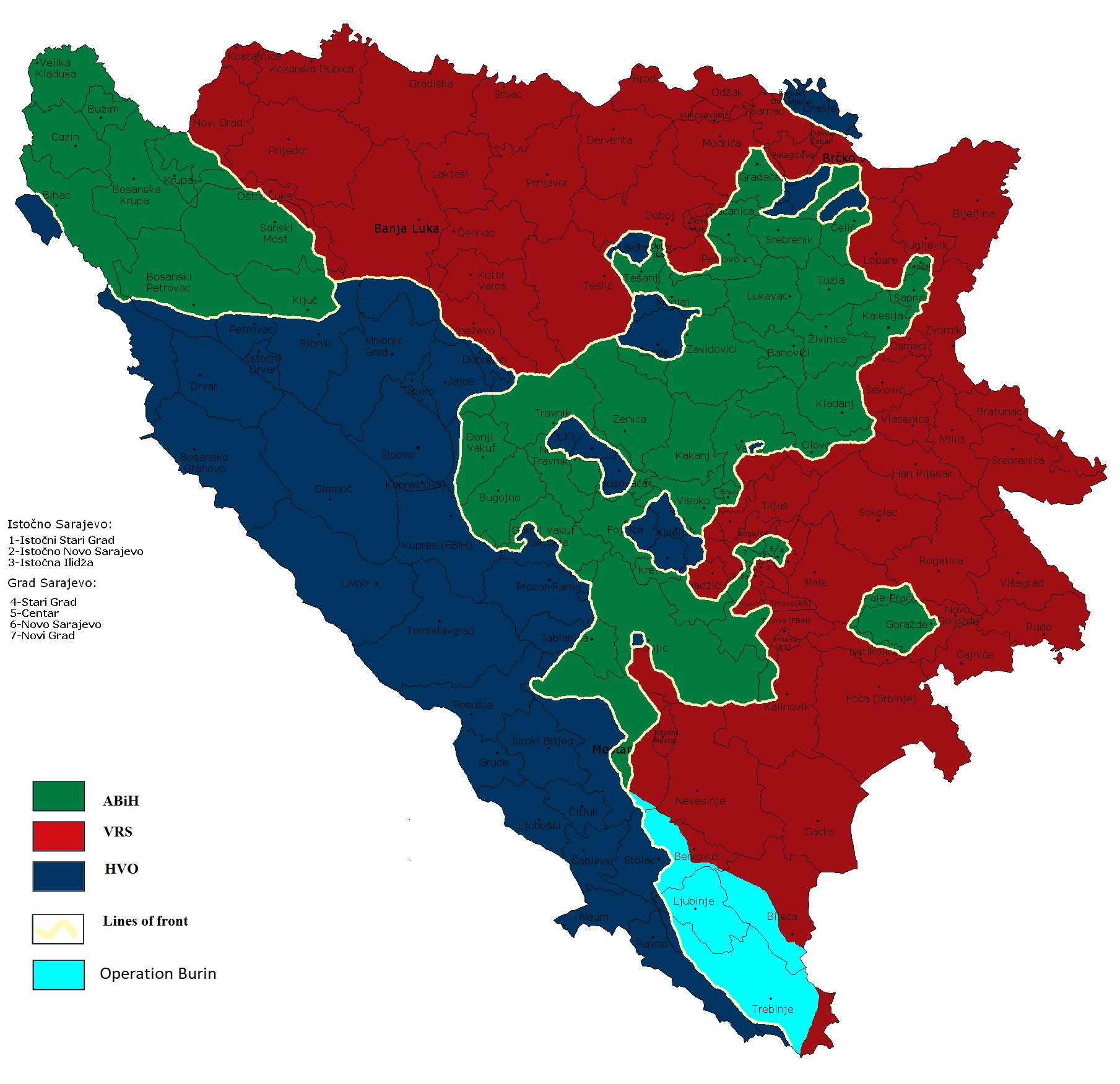 Svijetloplavom bojom je označeno ciljano područje koje su trebale osloboditi hrvatske snage.