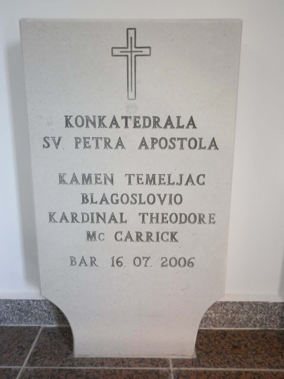 Datoteka Spomen Na Kamen Temeljac Konkatedrale U Baru Jpg Wikipedija
