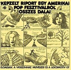 ed9c7e2419 Képzelt riport egy amerikai popfesztiválról. musical. Kemény György  borítógrafikája a Képzelt riport…-hoz