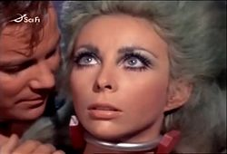 Angelique Pettyjohn William Shatner in Star Trek Gamesters of Triskelion 1968 001.jpg