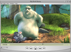 Windows Vista alatt futó QuickTime Player a Big Buck Bunny-t játssza