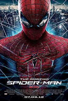 Spider-Man, wounded, is covered in a spider web with New York City in the background and as a reflection in his mask. Text at the bottom of the reveals the title, release date, official site of the film, rating and production credits.