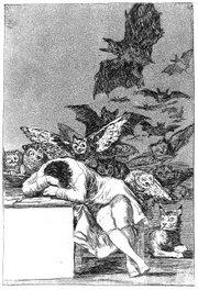 """""""Tidurnya Pikiran menciptakan monster-monster"""" etsa dan aquatint karya Francisco Goya"""