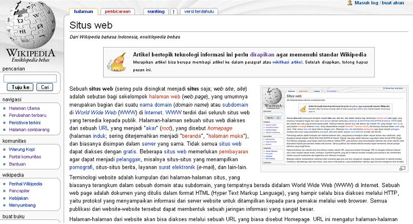 Situs web - Wikipedia bahasa Indonesia, ensiklopedia bebas
