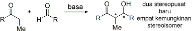 Aldol reaction creates stereoisomers