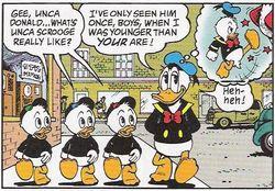 Gambar Donal Bebek dan 3 keponakannya dalam komik buatan Don Rosa