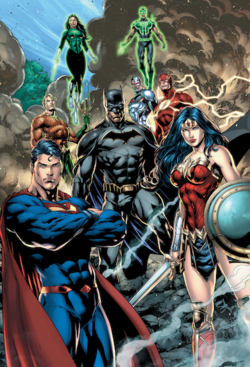 The Justice League stand among rubble