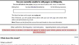 Contoh pesan blokir di Wikipedia .
