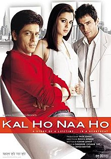 Poster of the film Kal Ho Naa Ho featuring Shah Rukh Khan, Preity Zinta and Saif Ali Khan