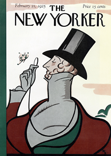 Cover of The New Yorker's first issue in 1925 with illustration depicting iconic character Eustace Tilley