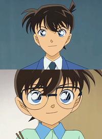 Shinichi Kudo (atas), dan Conan Edogawa (bawah)