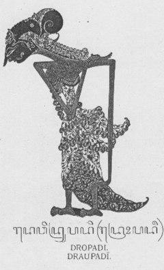 Dewi Dropadi dalam wujud wayang Jawa.